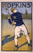 Vintage Hopkins University Lacrosse Poster by Bristow Adams c.1905